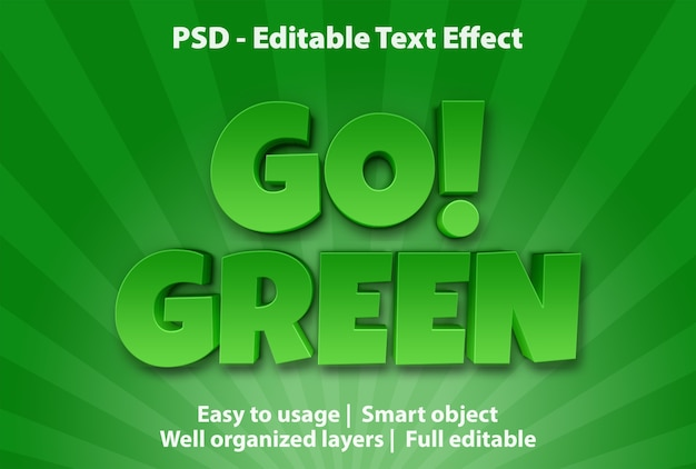 Текстовый эффект go green template