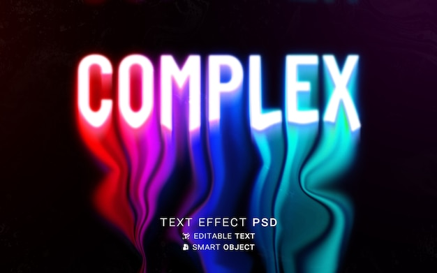 Текстовый эффект жидкого типографского дизайна Бесплатные Psd