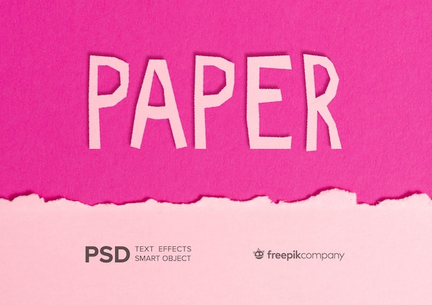 Текстовый эффект розовой бумаги