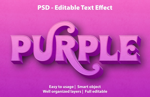 Text effect purple template