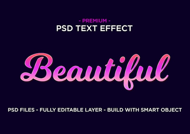 Text effect style. beautiful pink purple.