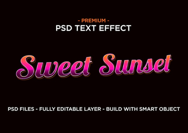 Text effect style. sweet sunset.