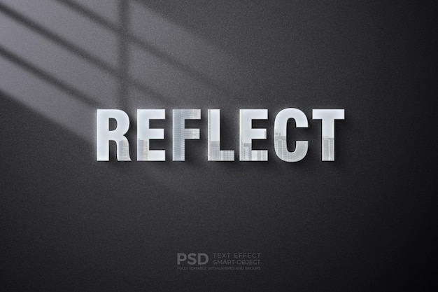 Text effect template on wall with reflection effect