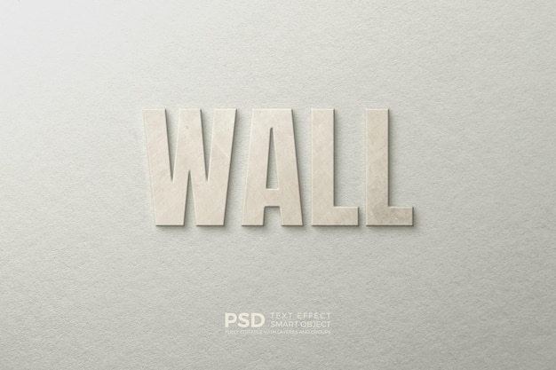 Text effect on the wall with a soft texture template