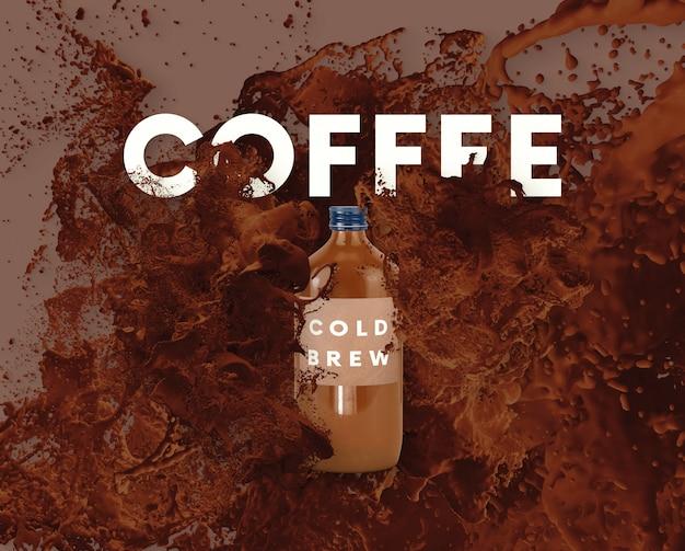 Текст буквы в всплеск жидкости - кофе 2