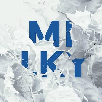 Текст буквы в всплеск жидкости - молоко