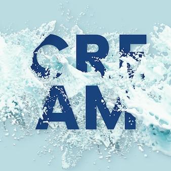 Text letters in splash liquid - cream