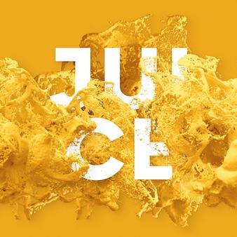 Text letters in splash liquid - juice