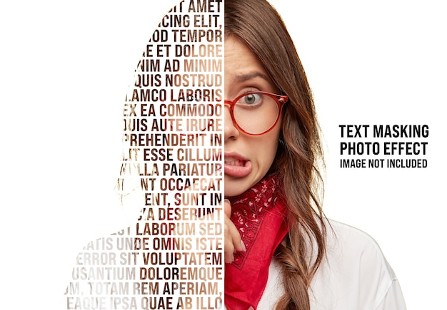 Text masking photo effect mockup