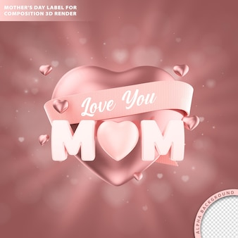 Text mothers day for composition 3d render