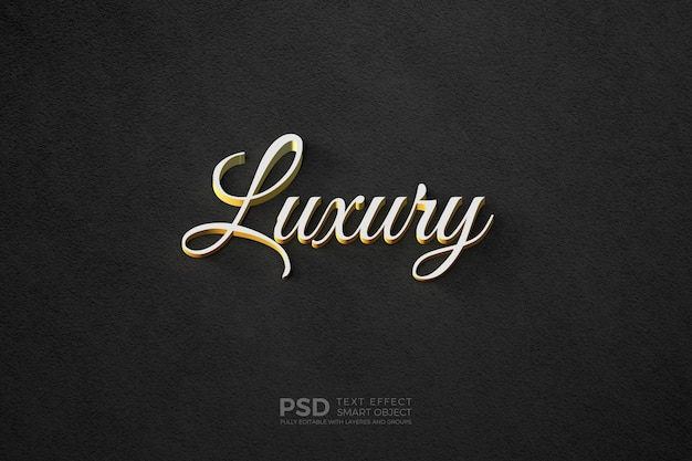 Text style effect with gold plated white text template