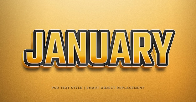 Text style effect with january celebration template
