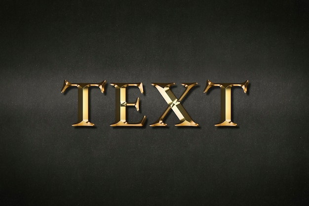 Text typography in gold effect on a black background