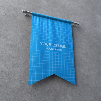 Textile banner mockup on grey wall