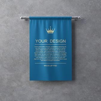 Текстильный баннер макет на серую стену