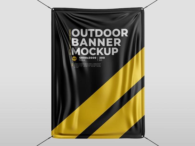 Textile material banner mockup