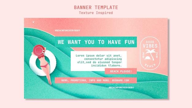 Textured beach banner template