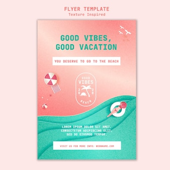 Textured beach flyer template