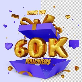 Спасибо 60k последователей 3d-рендеринга с концепцией поздравления с открытой подарочной коробкой