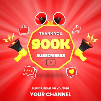 Спасибо 900k подписчиков youtube празднование 3d визуализации изолированные
