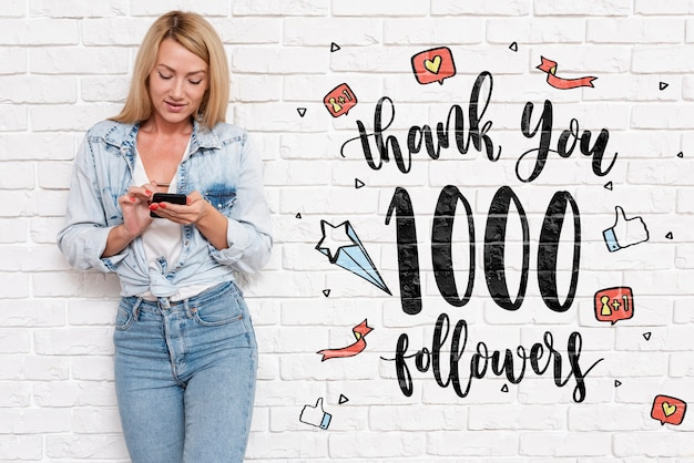 Thank you followers text from blogger