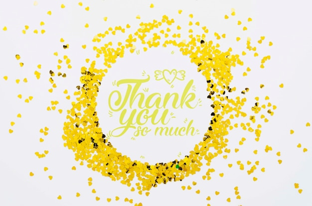 Thank you so much text confetti frame shape