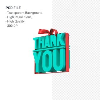 활과 리본 3d 디자인으로 감사합니다