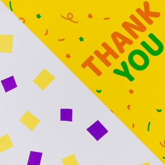 Thank you with confetti and abstract geometric shapes
