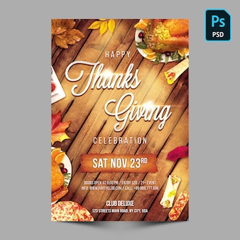 Thanks giving party flyer or poster template