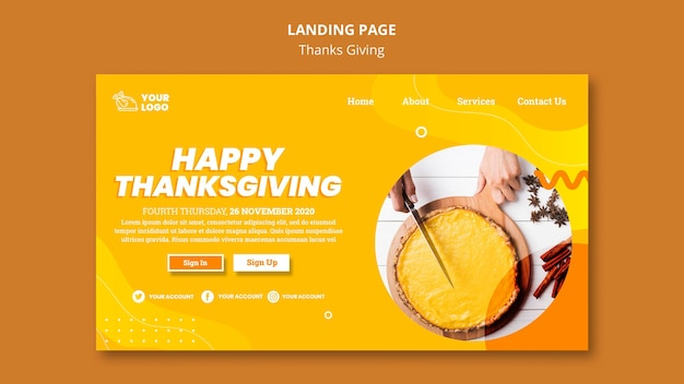 Thanksgiving concept landing page template