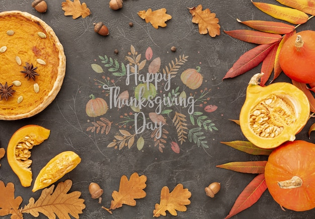 Thanksgiving concept with pie and pumpkin