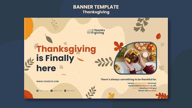 Modello di banner del giorno del ringraziamento con foglie