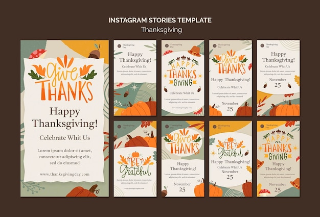Thanksgiving day instagram stories collection with autumnal details