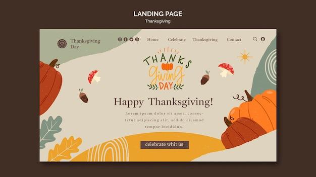 Modello di pagina di destinazione del giorno del ringraziamento con dettagli autunnali