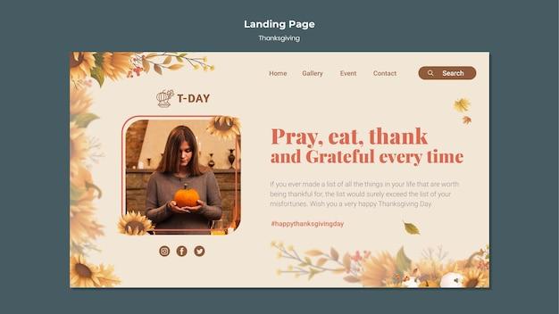 Modello di pagina di destinazione del giorno del ringraziamento