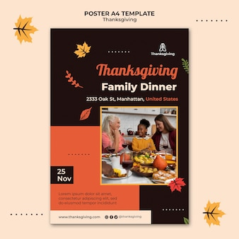 Thanksgiving design template of poster