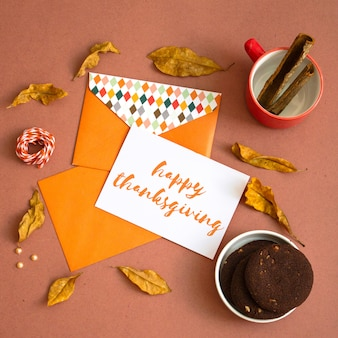 Thanksgiving greeting card mock up