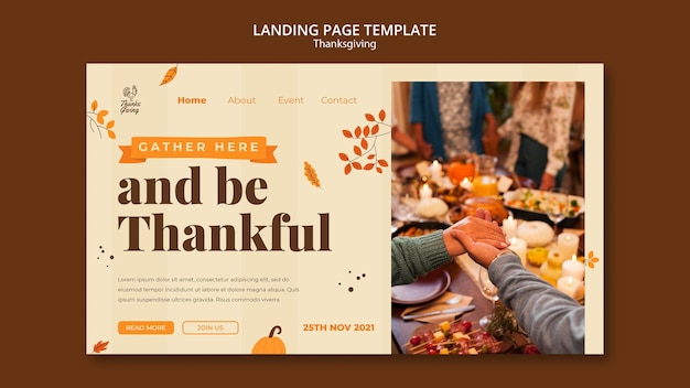 Thanksgiving landing page template with autumn details