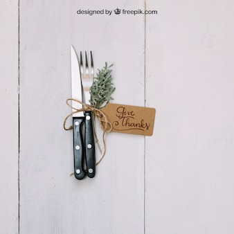 Thanksgiving mockup with cutlery
