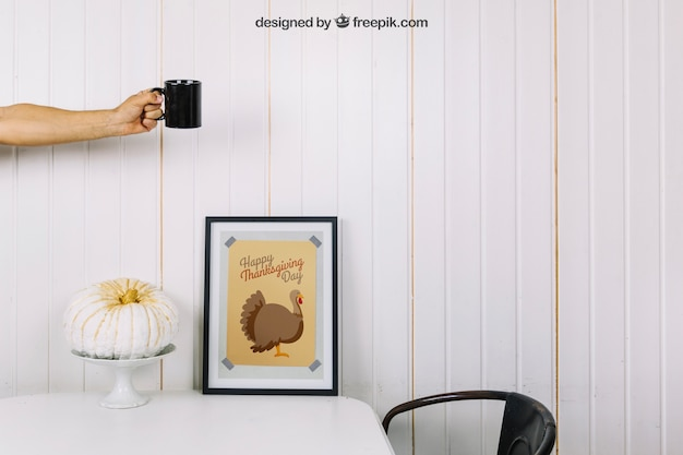 Thanksgiving mockup with frame and mug