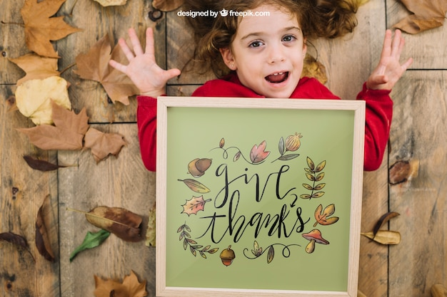 Thanksgiving mockup with girl and frame