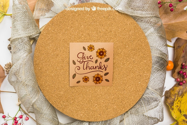 Thanksgiving mockup with greeting card