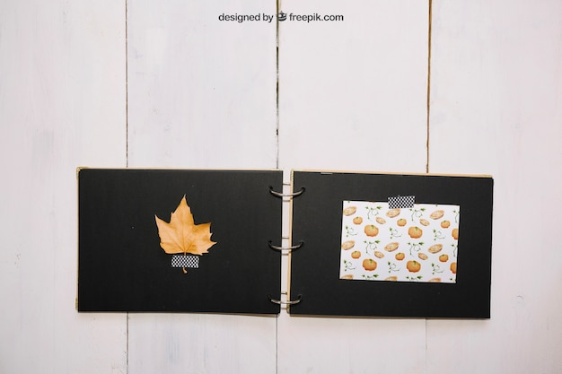 Thanksgiving mockup with handmade book