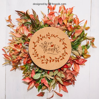 Thanksgiving mockup with leaves and cardboard