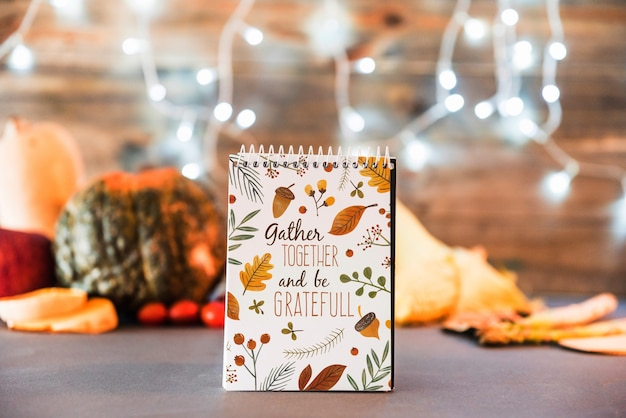 Thanksgiving mockup with notepad