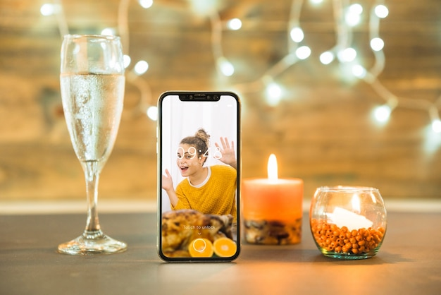 Thanksgiving mockup with smartphone