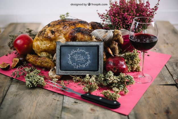 Thanksgiving mockup with turkey and slate