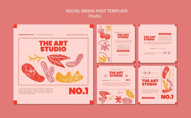 Посты арт-студии в социальных сетях