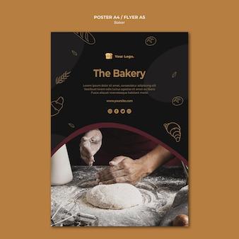 Концепция шаблона флаера пекарни