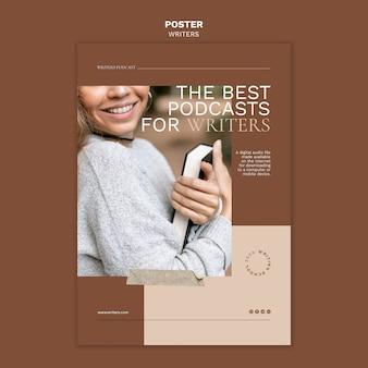 Лучшие подкасты для писателей шаблон плаката